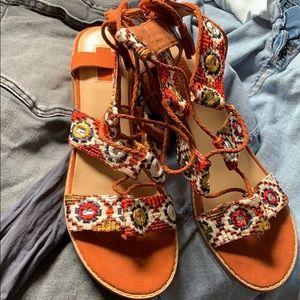 Forever21 festival boho lace up block heel sandal